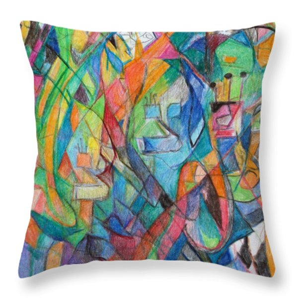the letter Tzadi 2 Throw Pillow by David Baruch Wolk