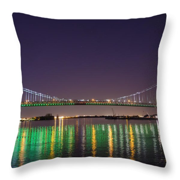 The Lighted Ben Franklin Bridge Throw Pillow by Bill Cannon
