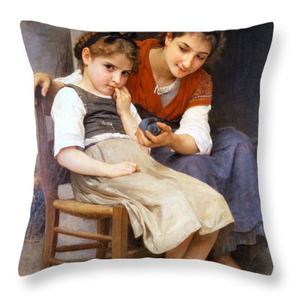 The Little Sulk Throw Pillow by William Bouguereau