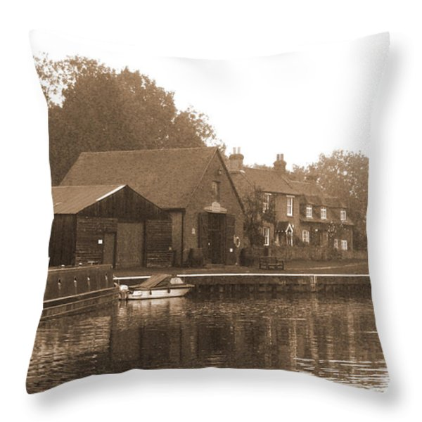 The Lock Keeper's Cottage Throw Pillow by Terri  Waters