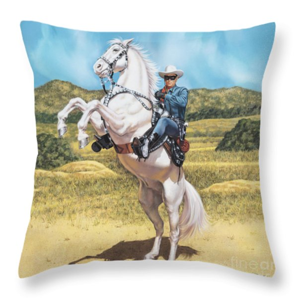 The Lone Ranger Throw Pillow by Dick Bobnick