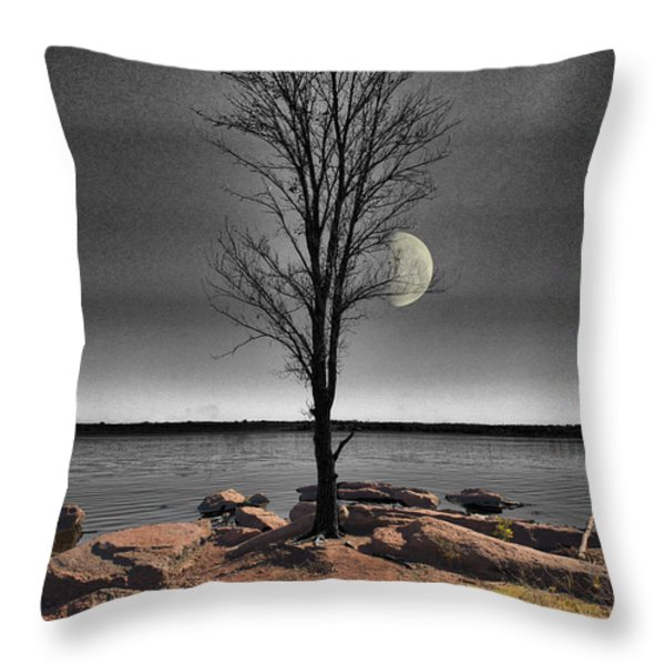 The Lonely Tree Throw Pillow by Betty LaRue
