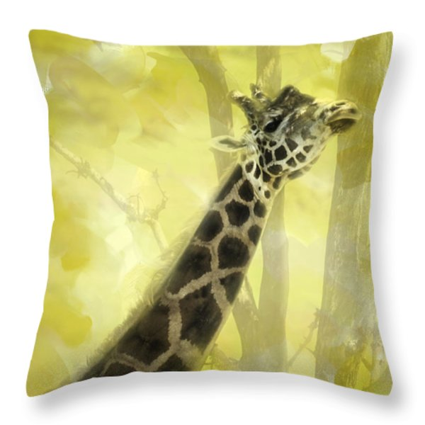 The Long Morning Stretch Throw Pillow by Diane Schuster