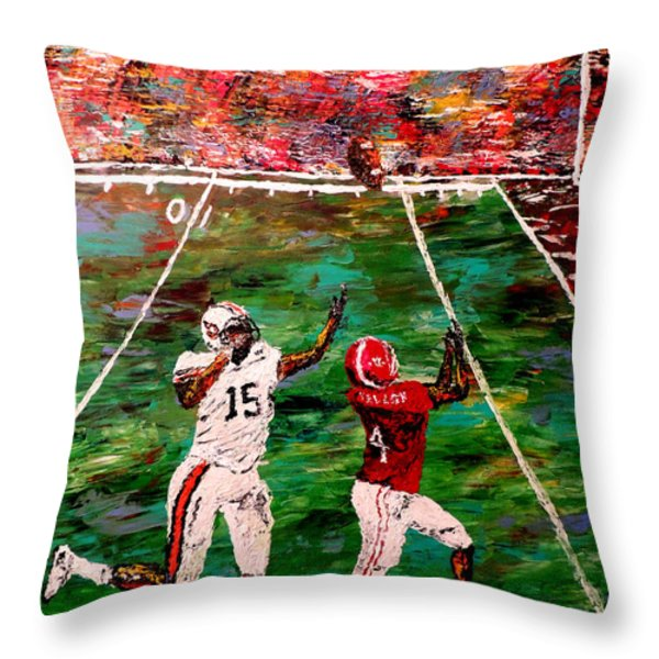 The Longest Yard - Alabama Vs Auburn Football Throw Pillow by Mark Moore