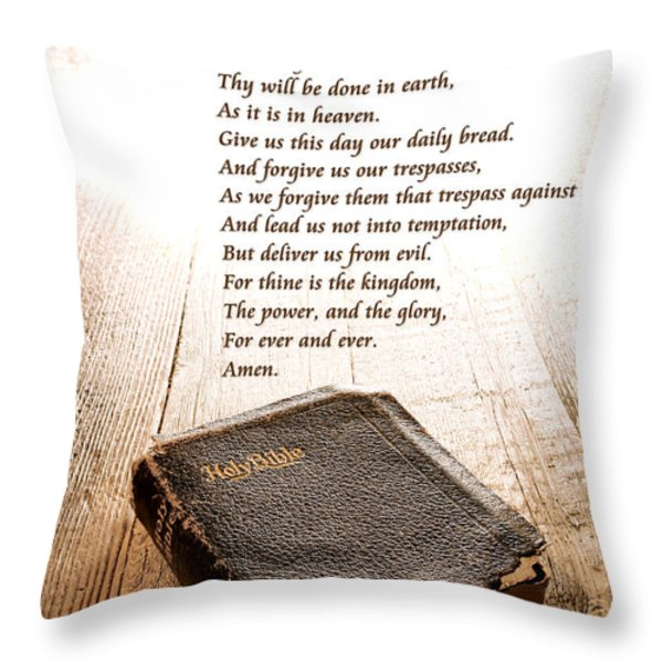 The Lord's Prayer and Bible Throw Pillow by Olivier Le Queinec