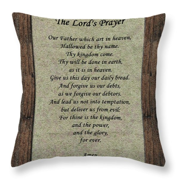 The Lord's Prayer Throw Pillow by Roger Reeves  and Terrie Heslop