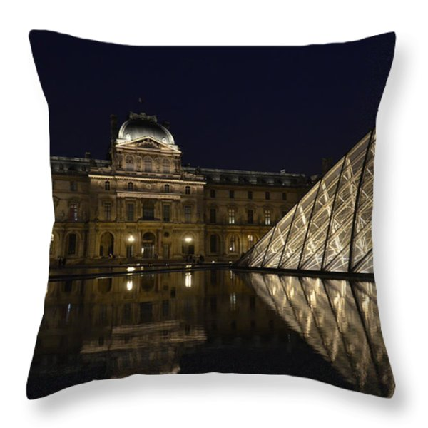 The Louvre Palace And The Pyramid At Night Throw Pillow by RicardMN Photography