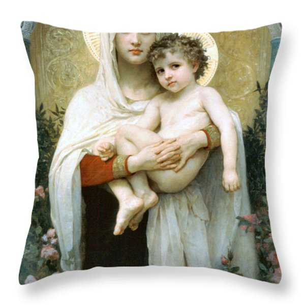 The Madonna of the Roses Throw Pillow by William Bouguereau