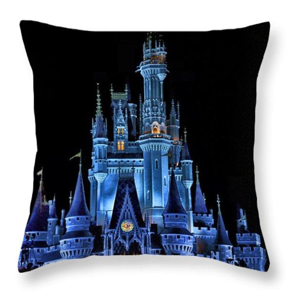 The Magic Kingdom Castle In Very Deep Blue Walt Disney World Fl Throw Pillow by Thomas Woolworth