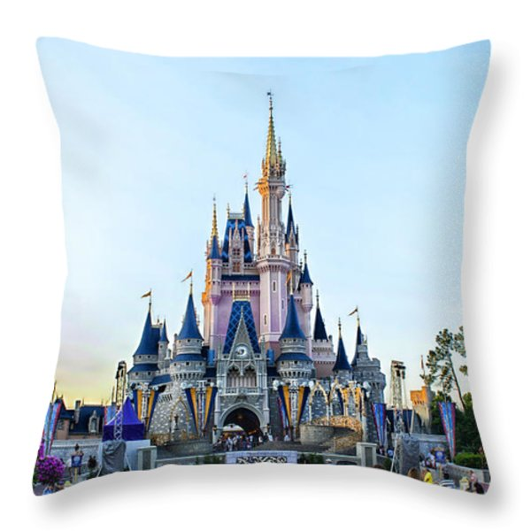 The Magic Kingdom Castle On A Beautiful Summer Day Horizontal Throw Pillow by Thomas Woolworth
