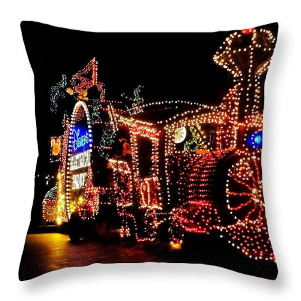 The Main Street Electrical Parade Throw Pillow by Benjamin Yeager