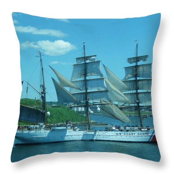 The Majestic Us Coast Guard Throw Pillow by John Malone