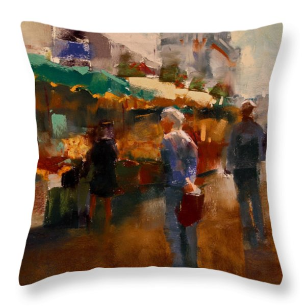 The Market Throw Pillow by David Patterson