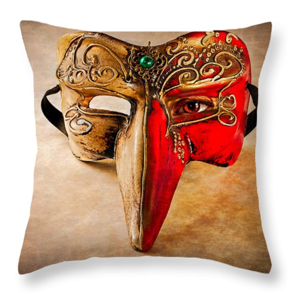 The Mask on the floor Throw Pillow by Bob Orsillo