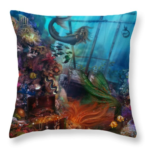 The Mermaids Treasure Throw Pillow by Aimee Stewart