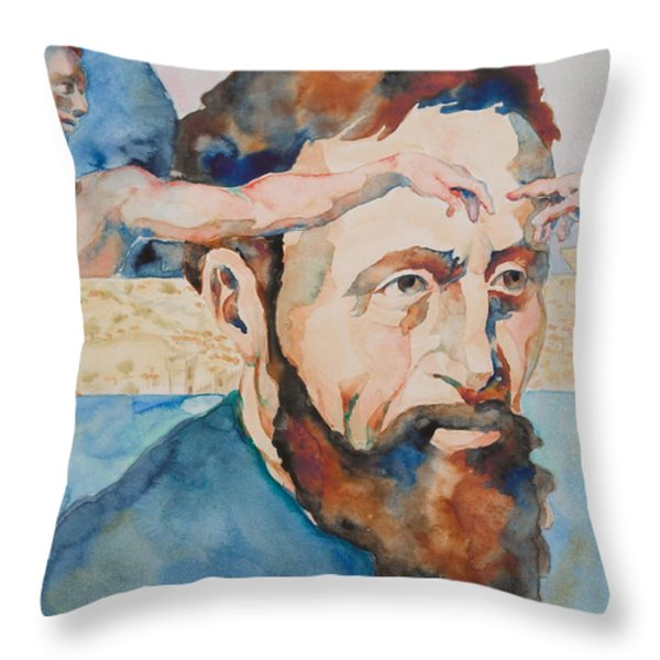 The Mind of Michelangelo Throw Pillow by Michele Myers