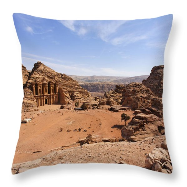 The Monastery Sculpted Out Of The Rock At Petra In Jordan Throw Pillow by Robert Preston