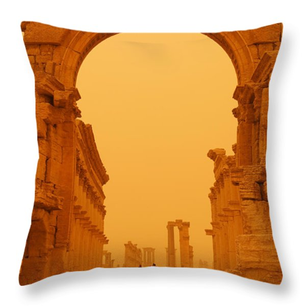 The Monumental Arch At Palmyra Syria In The Light After A Sandstorm Throw Pillow by Robert Preston