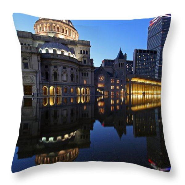 The Mother Church And The Pru Throw Pillow by Juergen Roth