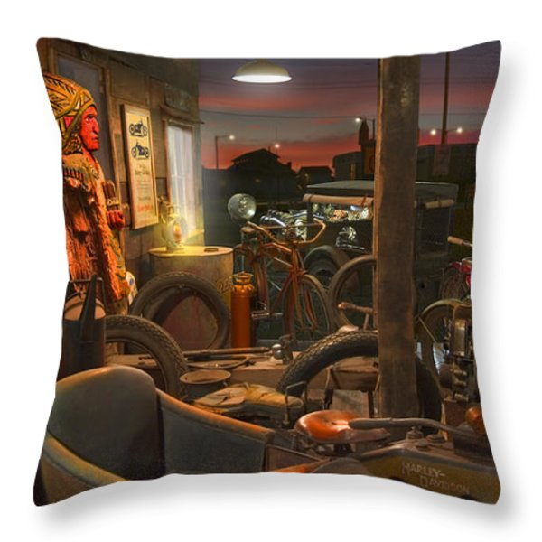 The Motorcycle Shop 2 Throw Pillow by Mike McGlothlen