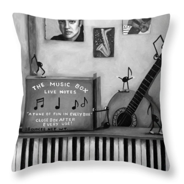 The Music Box Bw Throw Pillow by Leah Saulnier The Painting Maniac
