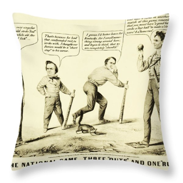 The National Game - Abraham Lincoln Plays Baseball Throw Pillow by Digital Reproductions