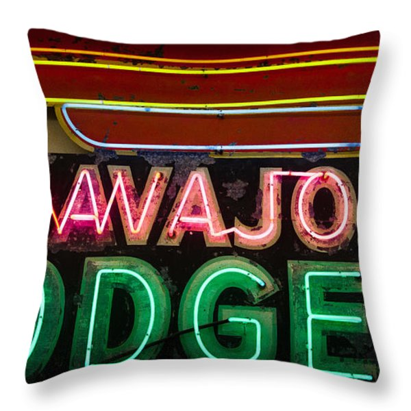 The Navajo Lodge Sign in Prescott Arizona Throw Pillow by David Patterson