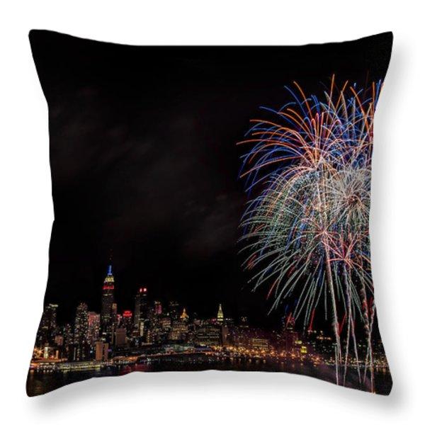 The New York City Skyline Sparkles Throw Pillow by Susan Candelario