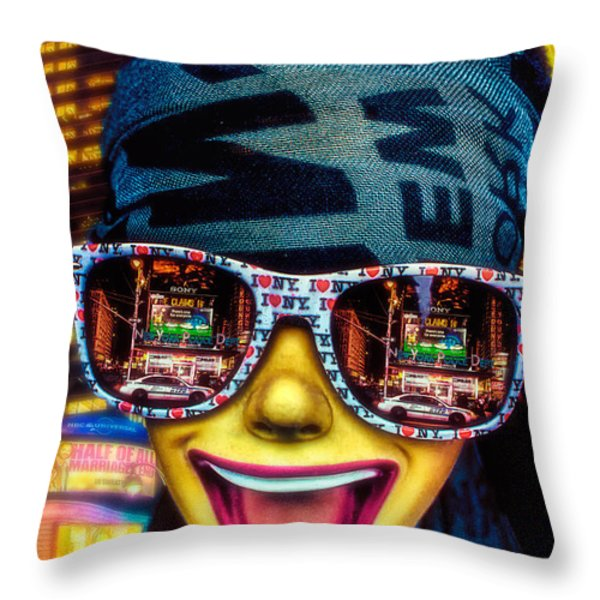 The New York City Tourist Throw Pillow by Chris Lord