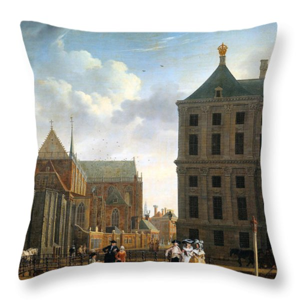 The Nieuwe Kerk And The Rear Of The Town Hall In Amsterdam Throw Pillow by Isaak Ouwater