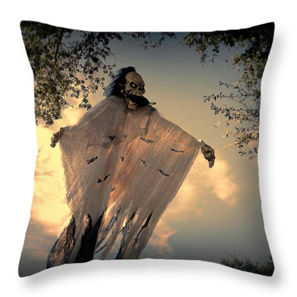 The Nightmare Begins Throw Pillow by Dorothy Menera