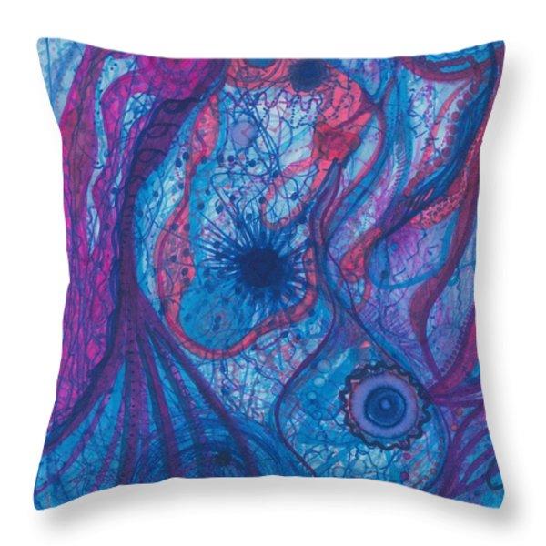 The Ocean's Blue Heart Throw Pillow by Daina White