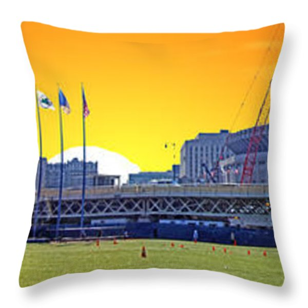The Old and New Yankee Stadiums Side by Side at Sunset Throw Pillow by Nishanth Gopinathan