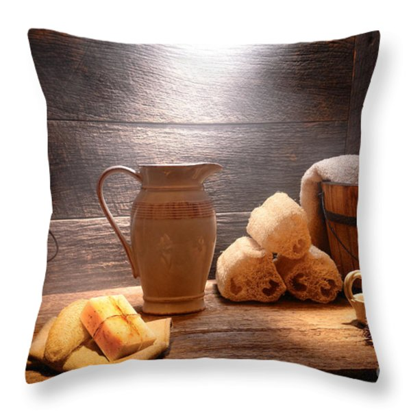 The Old Bathroom Throw Pillow by Olivier Le Queinec