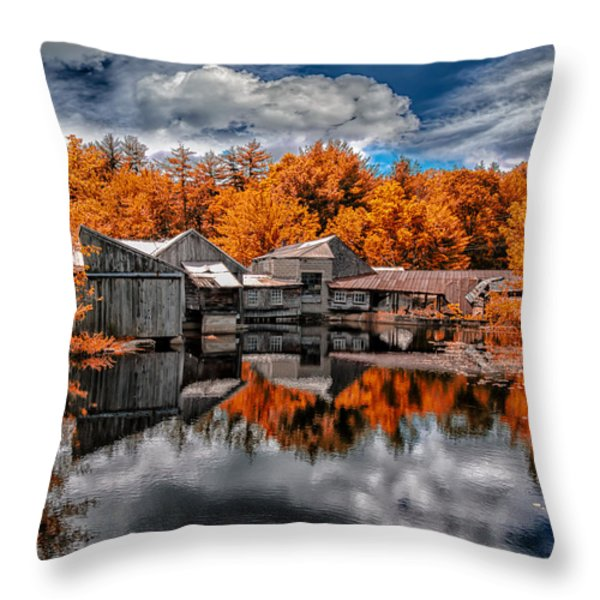 The Old Boat House Throw Pillow by Bob Orsillo
