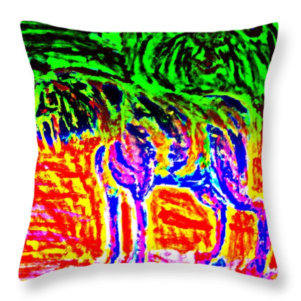 the old dog Throw Pillow by Hilde Widerberg