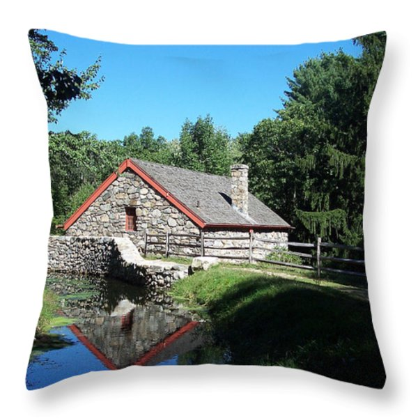 The Old Grist Mill Throw Pillow by Georgia Hamlin