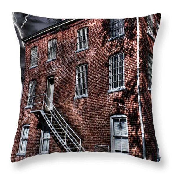 The Old Jail Throw Pillow by Dan Stone