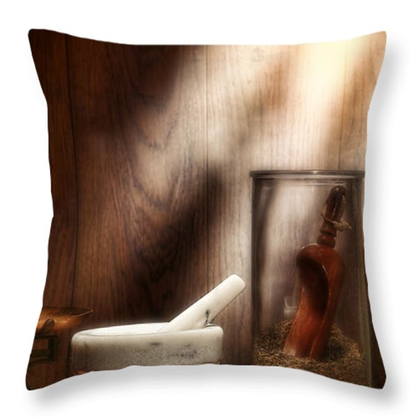 The Old Lavender Artisan Shop Throw Pillow by Olivier Le Queinec