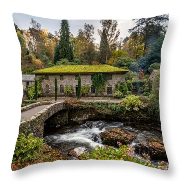 The Old Mill Throw Pillow by Adrian Evans
