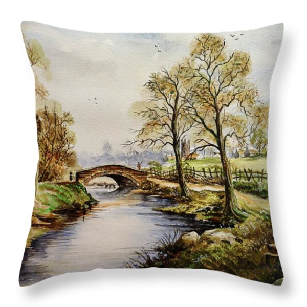 The Old Mill Path Throw Pillow by Andrew Read