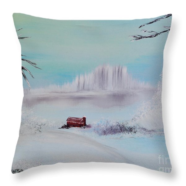 The Old Red Barn In Winter Throw Pillow by Alys Caviness-Gober