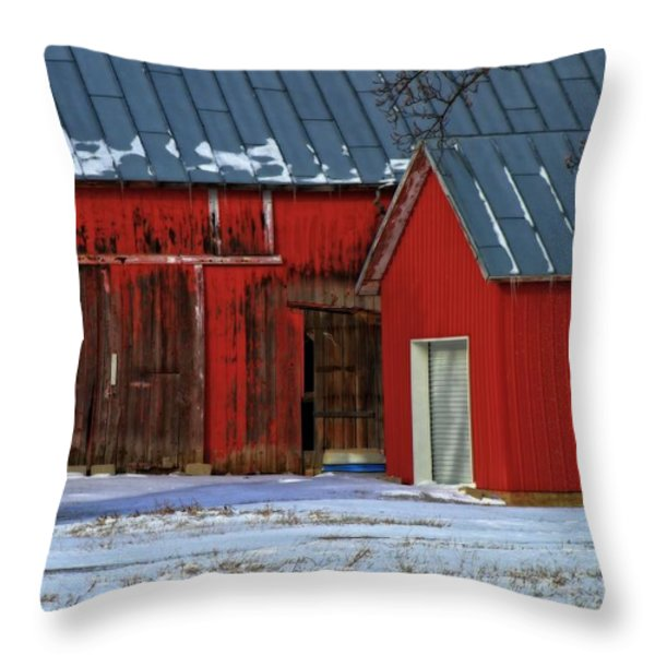 The Old Red Barn In Winter Throw Pillow by Dan Sproul