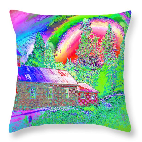 The Old Schoolhouse Library Again Throw Pillow by Joyce Dickens