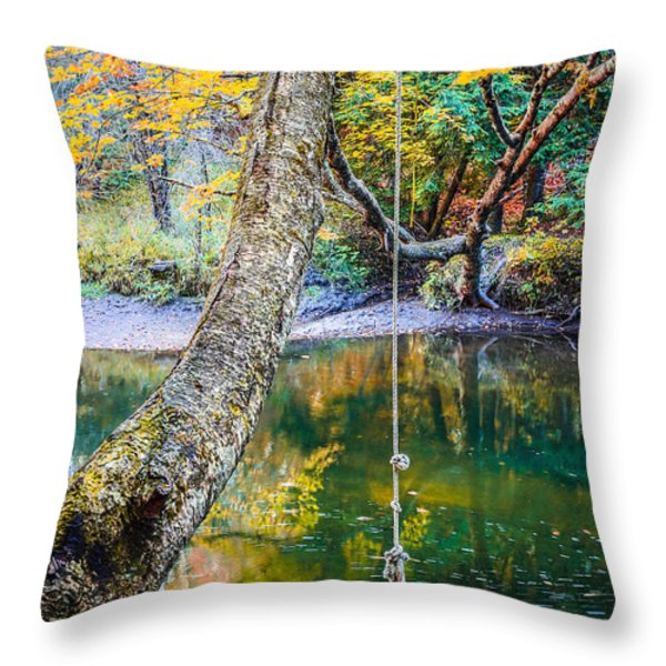 The Old Swimming Hole Throw Pillow by Edward Fielding