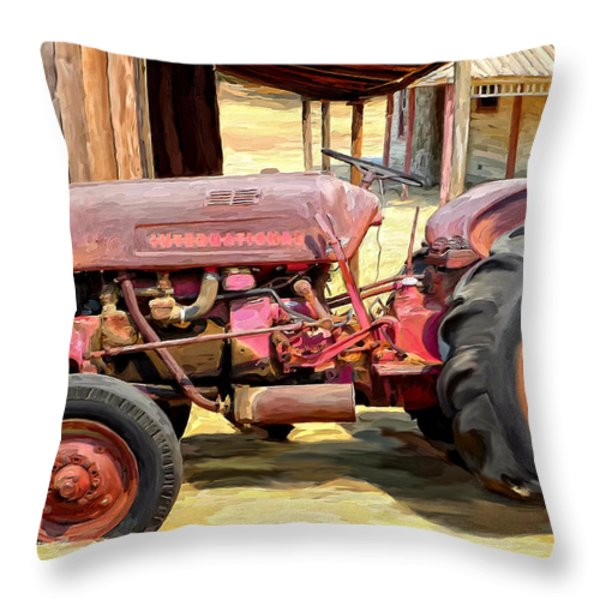 The Old Tractor Throw Pillow by Michael Pickett