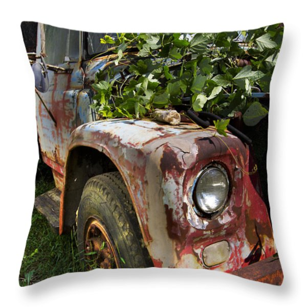 The Old Truck Throw Pillow by Debra and Dave Vanderlaan