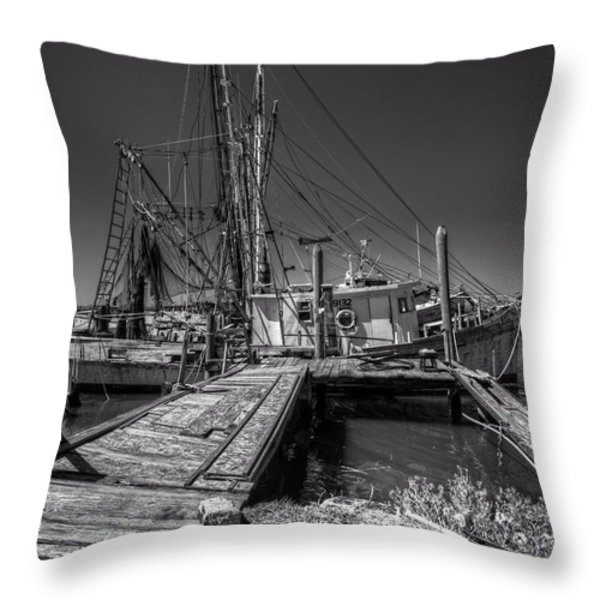 The Old Wharf In Brunswick Throw Pillow by Debra and Dave Vanderlaan