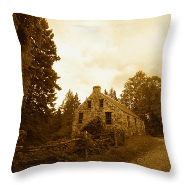 The Olde Stone Cottage Throw Pillow by Ron Haist