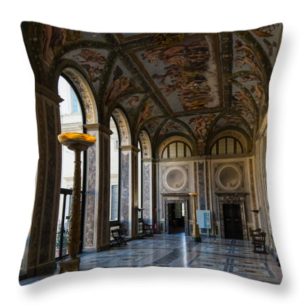 The Opulent Loggia In Villa Farnesina Rome Italy - 1 Throw Pillow by Georgia Mizuleva